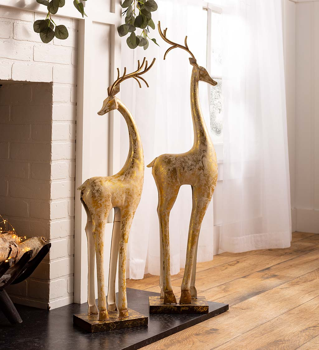 Gold and White Iron Deer Statues