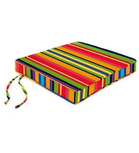 "Polyester Deluxe Chair Cushion With Ties, 16""x 16""x 2½"""