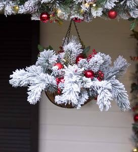 Fairfax Lighted Decorated Holiday Hanging Basket
