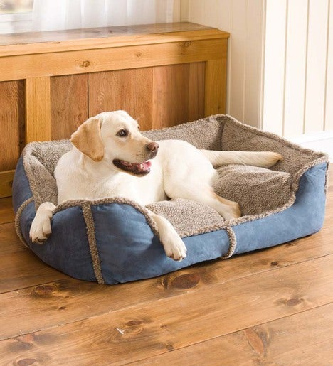 Extra-Large Faux Suede And Berber Rectangular Dog Bed