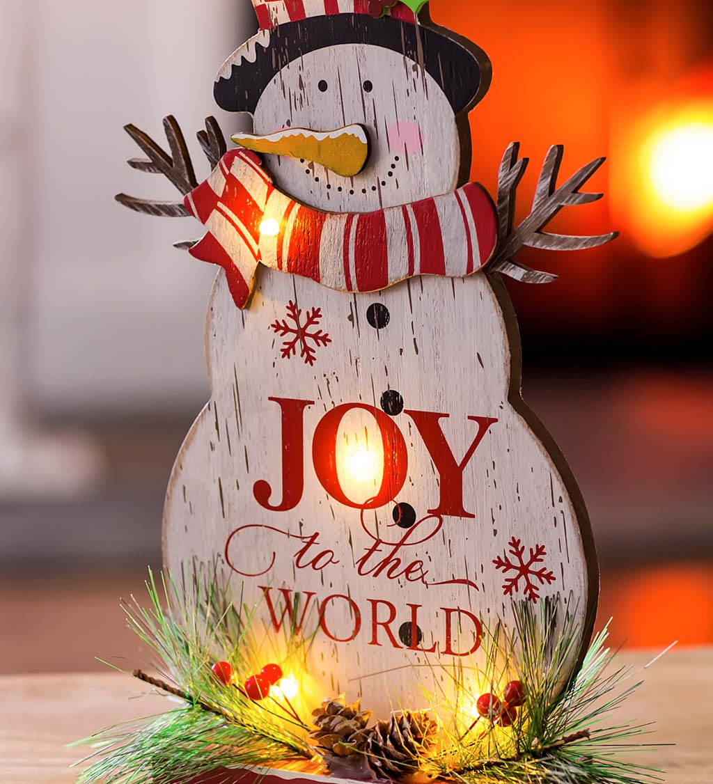 LED Joy to the World Wooden Snowman Table Decor