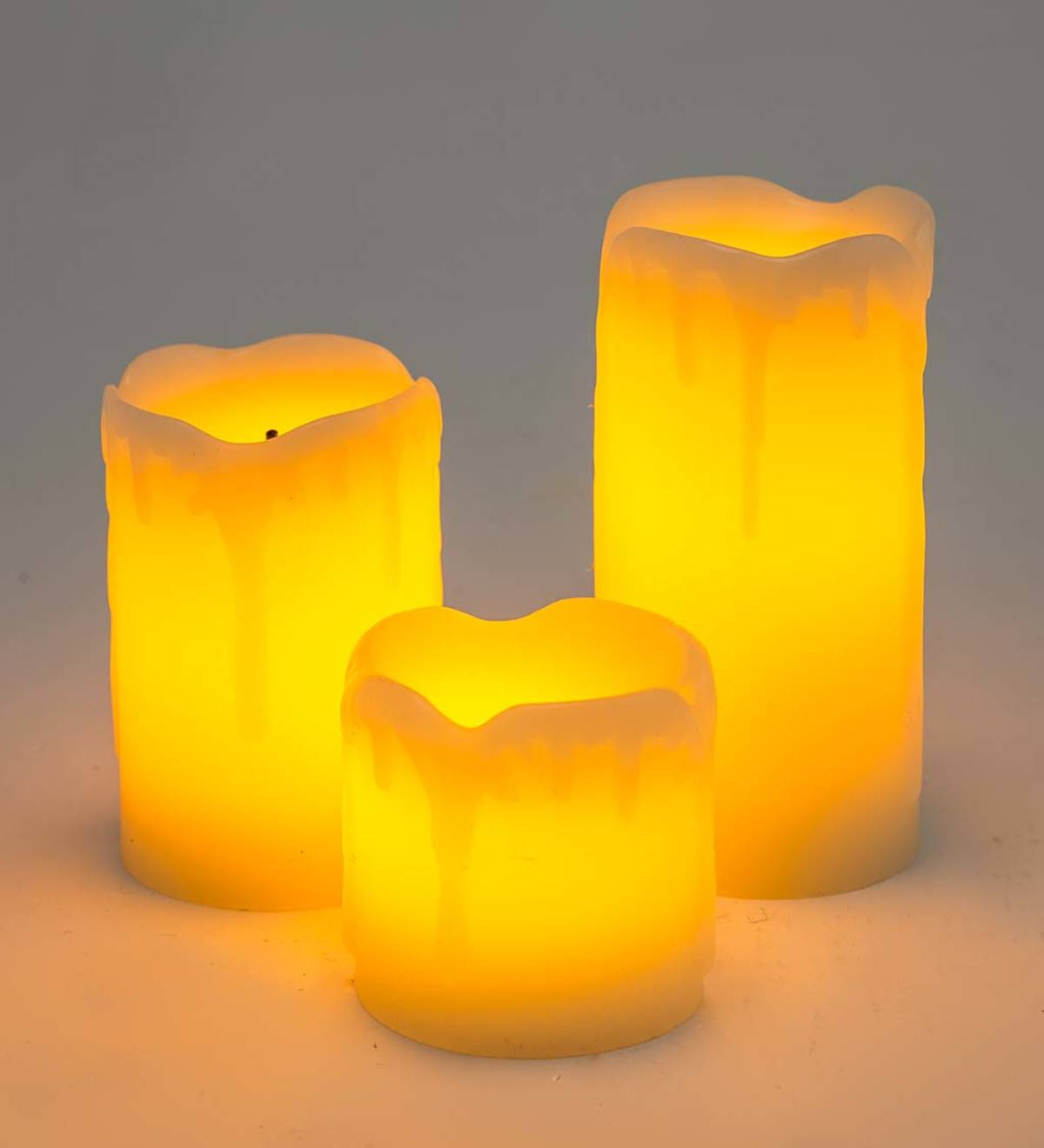 Mini Melted Flameless LED Pillar Candles, Set of 3