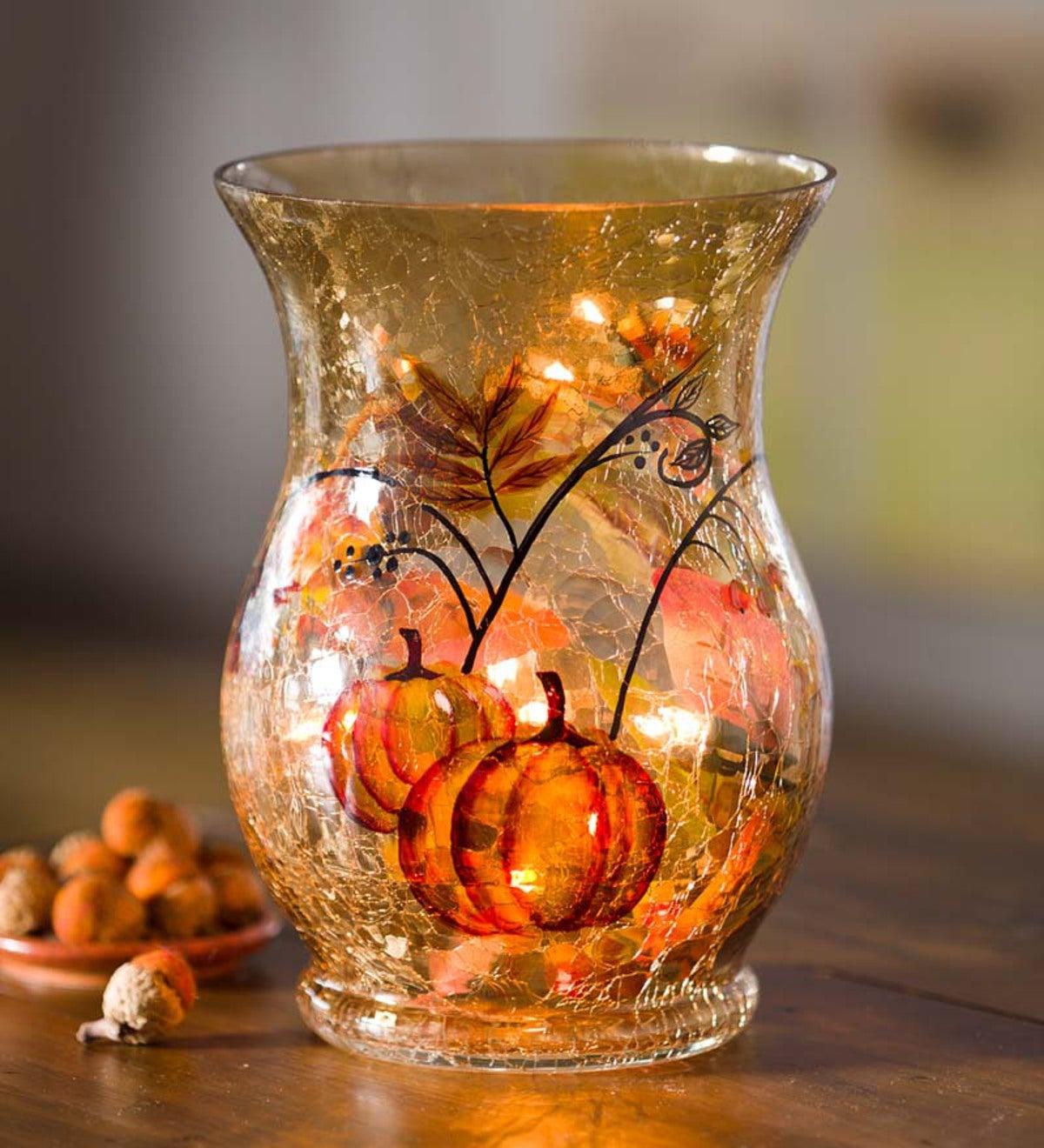 Le Glass Lighted Hurricane Lamp, Decorative Glass Hurricane Lamps