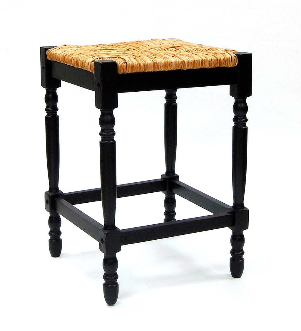 "24""-High Counter Stool with Handwoven Rush Seat"