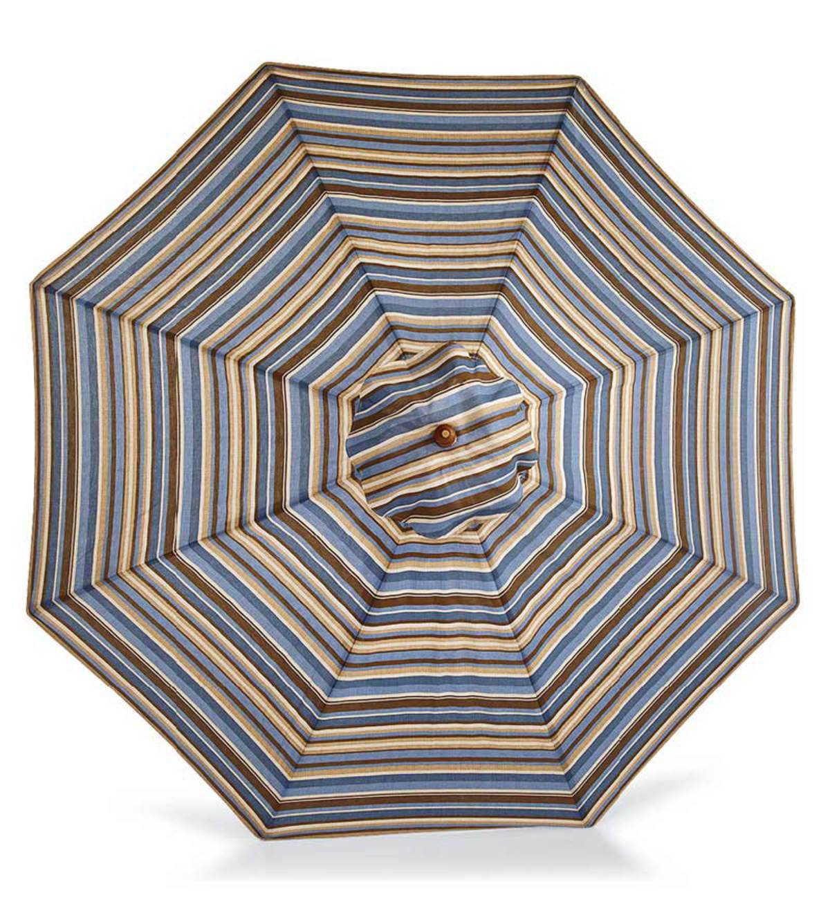 Market Umbrella with Wood Pole and Pulley Lift, 9' dia. - CHOCOLATE STRIPE