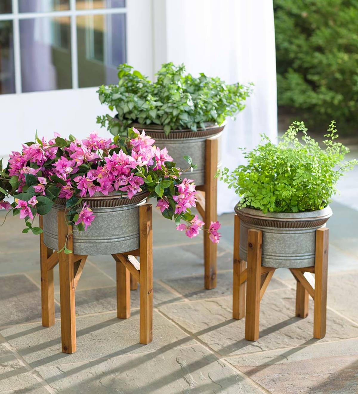 Galvanized Planters with Wooden Stands, Set of 3