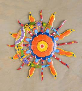 Talavera Sun and Moon Painted Metal Wall Art