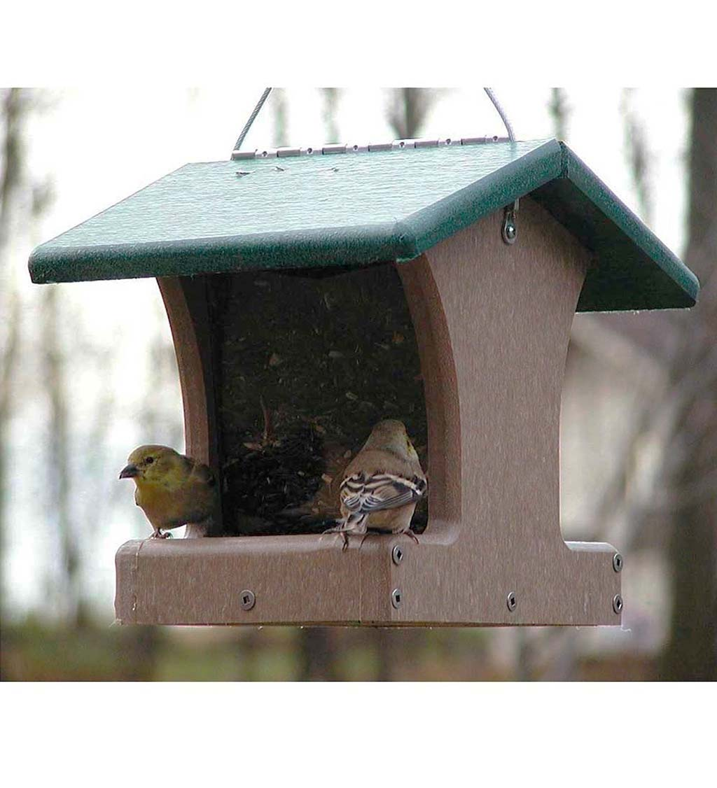 Recycled Poly-Lumber 2-Sided Hopper Bird Feeder