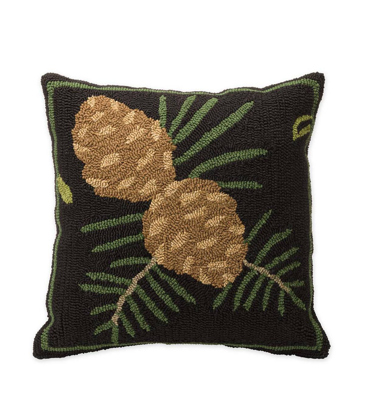 Indoor/Outdoor Woodland Throw Pillow with Pine Cones