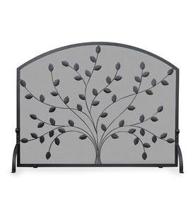 Single Panel Black Wrought Iron Tree Fireplace Screen