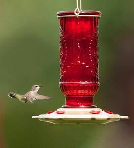Vintage Glass and Metal 20-Ounce Hummingbird Feeder