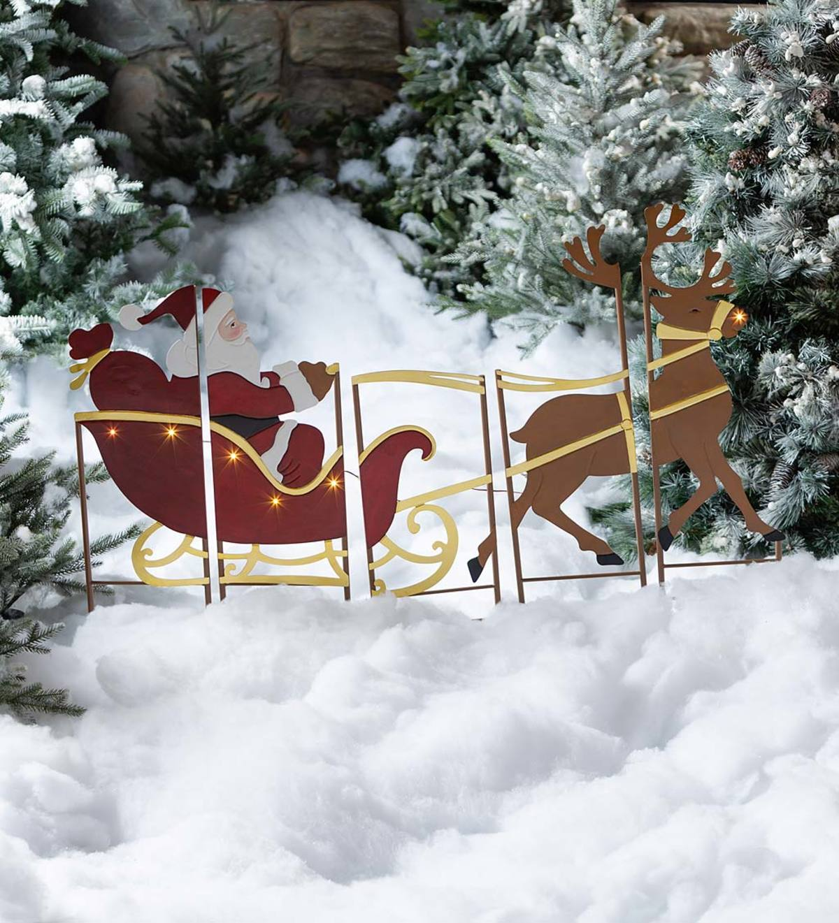 Santa, Sleigh and Reindeer Lighted Landscape Panel Stakes, Set of 5