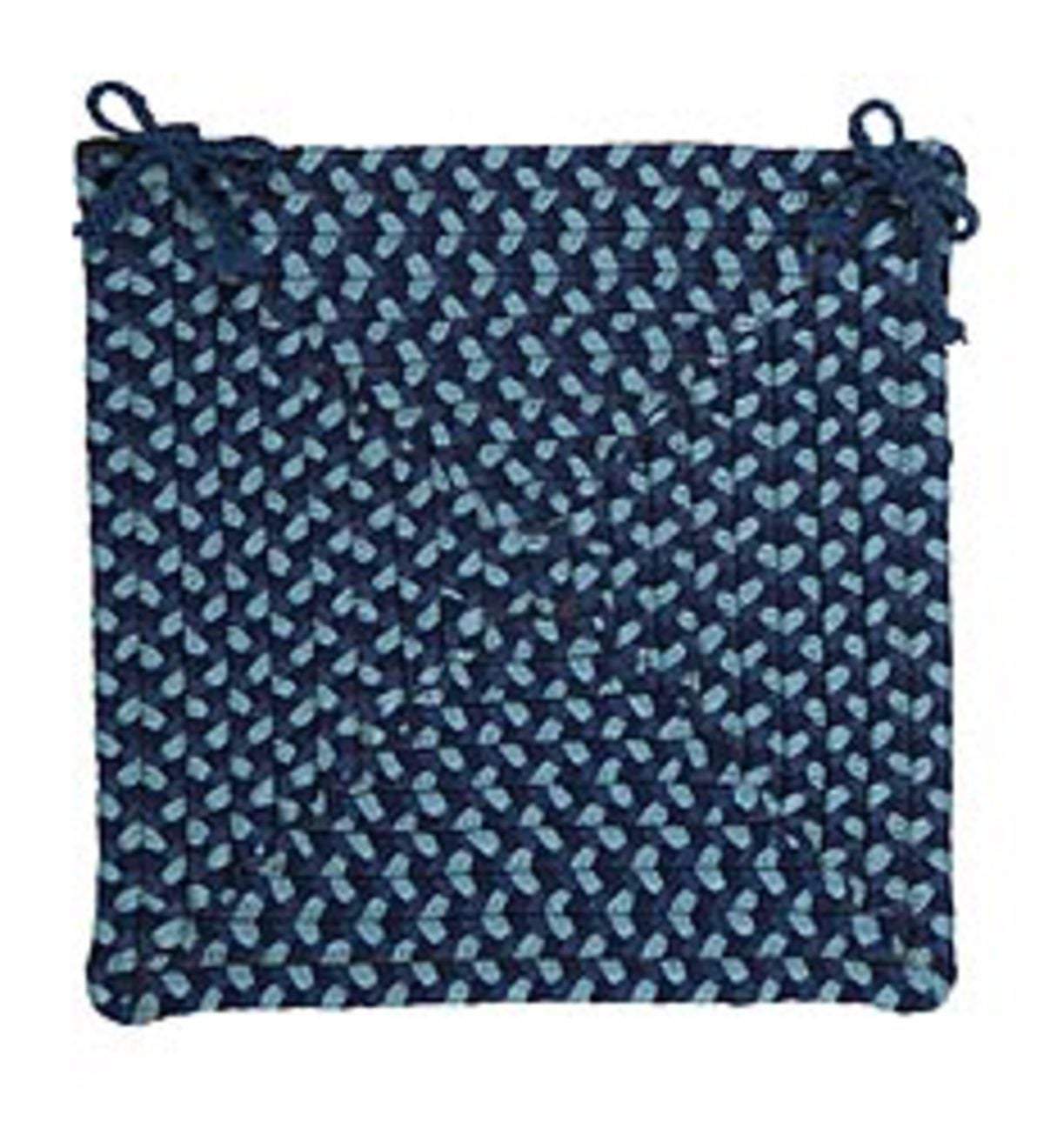Square Braided Indoor/Outdoor Chair Pad - Blue  PlowHearth