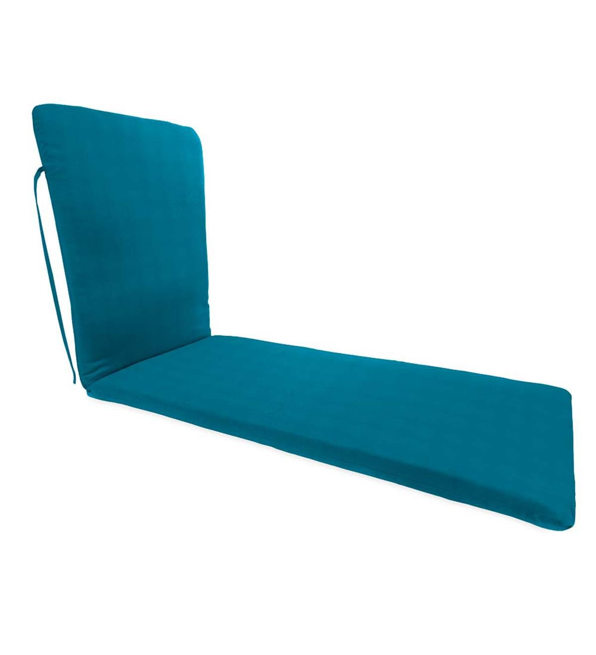 "Sunbrella® Classic Chaise Cushion With Ties, 76""x 23""x 3""hinged 47½""from bottom"