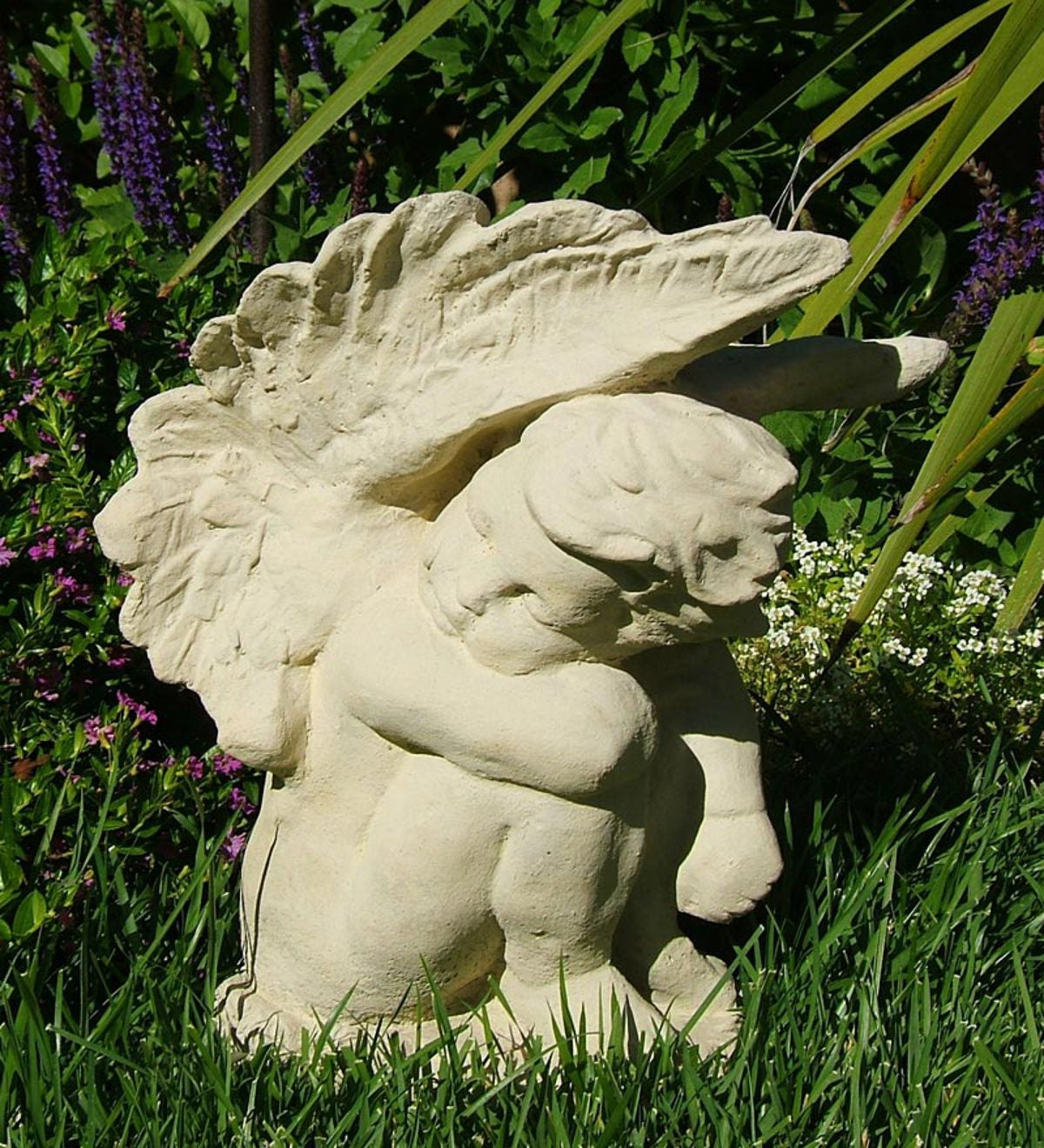 Made In USA Cast-Stone Crying Angel Garden Statue