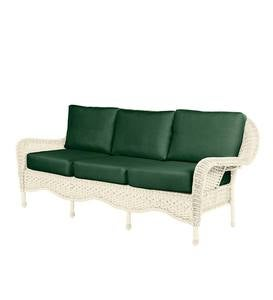 Prospect Hill Outdoor Wicker Deep Seating Sofa with Cushions - Cloud White with Forest Green Cushions
