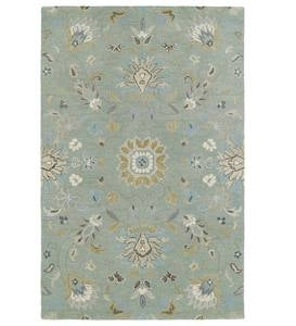 Teal Meadow Floral Vine Wool Rug, 10' x 14'