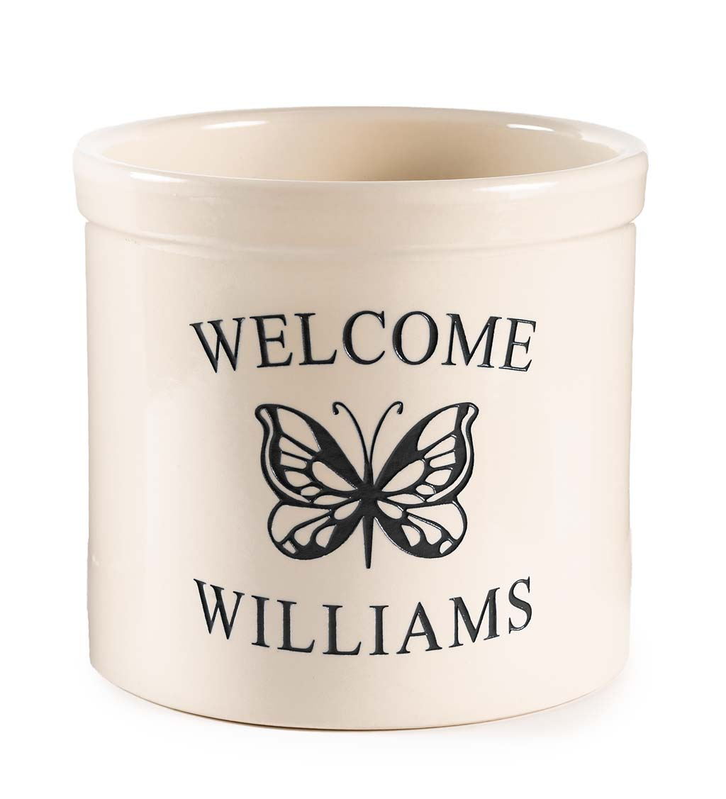 Personalized Stoneware Welcome Crock with Butterfly swatch image