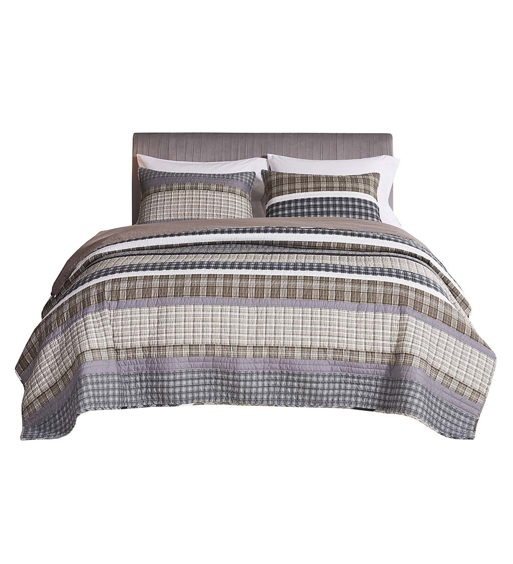 Full/Queen Gold Rush Gray Quilt Set