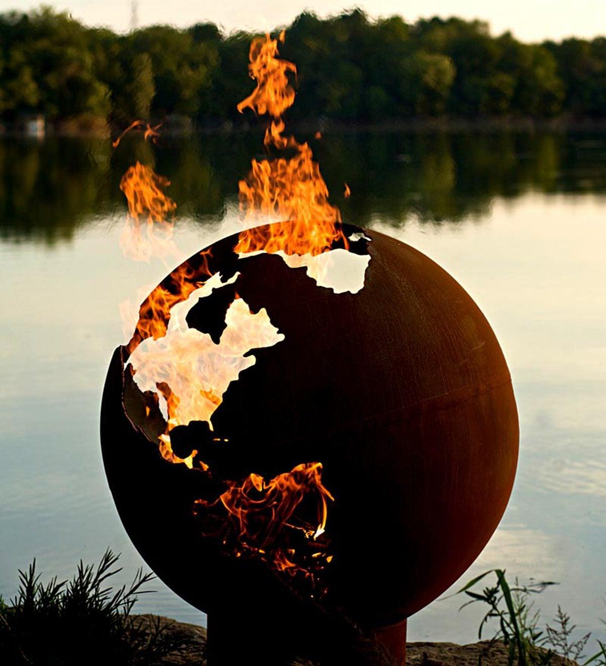 american made firepit art third rock globe fire pit fire. Black Bedroom Furniture Sets. Home Design Ideas
