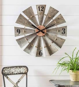 Metal And Wood Vintage-Style Windmill Clock