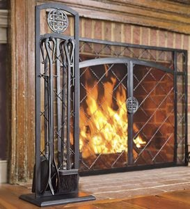 2-Door Celtic Knot Flat Steel Fire Screens And Accessories