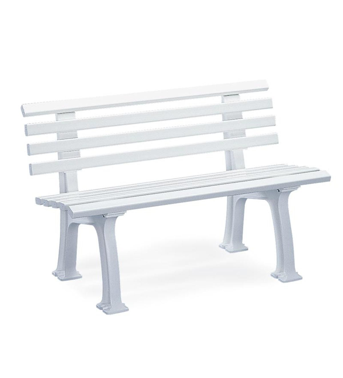 German-Made, Weatherproof Resin Garden Bench - White