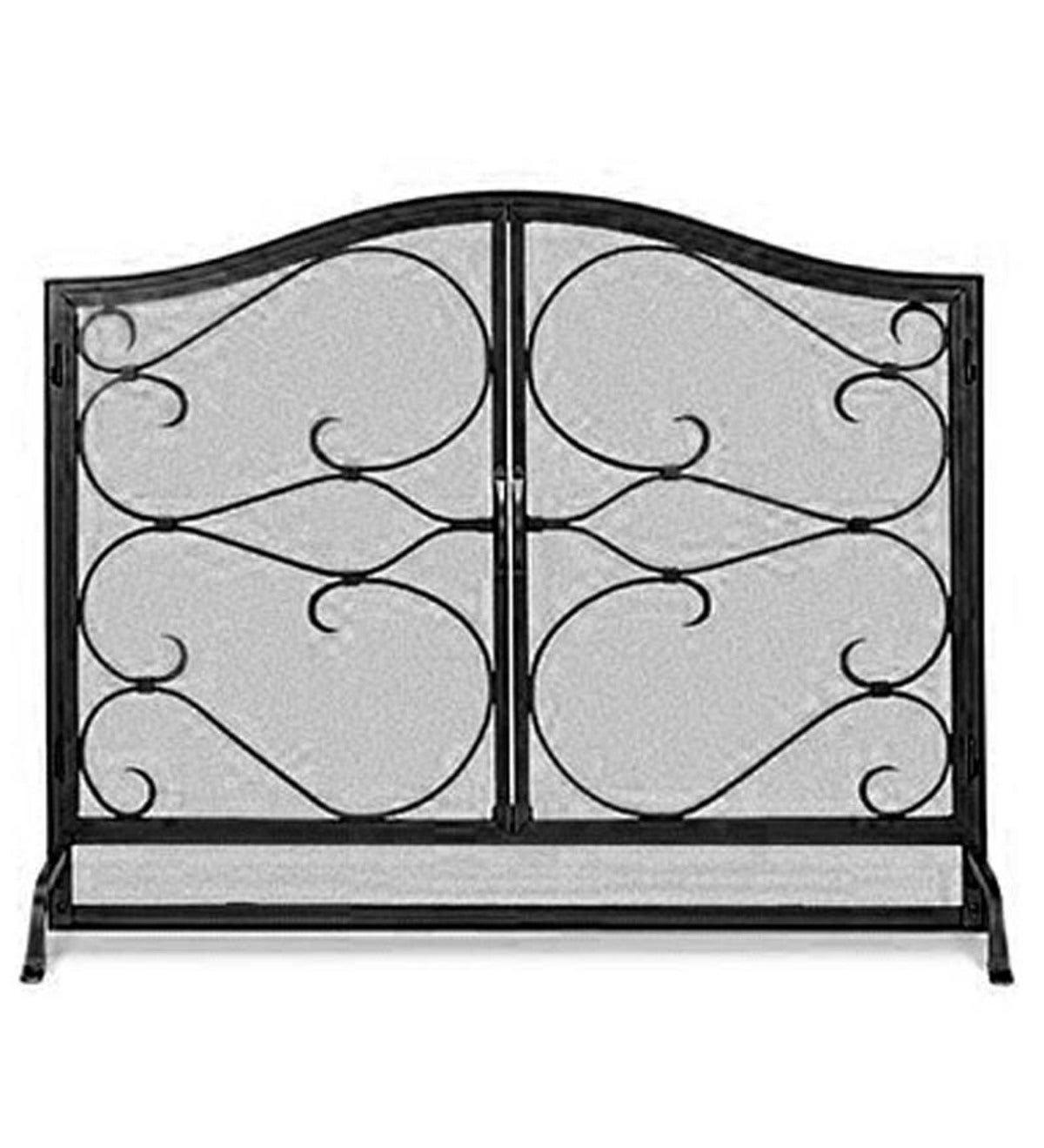 Large Iron Gate Hearth Screen with Doors - Black