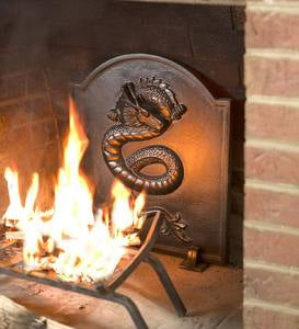Cast Iron Fireback with Dragon Design