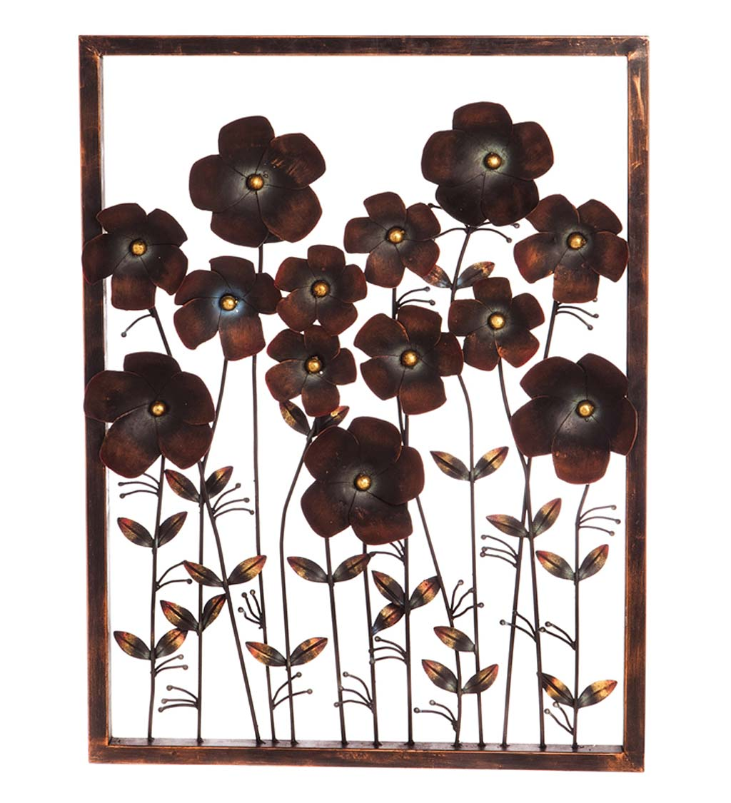Dark Metal Framed 3D Flower Wall Art