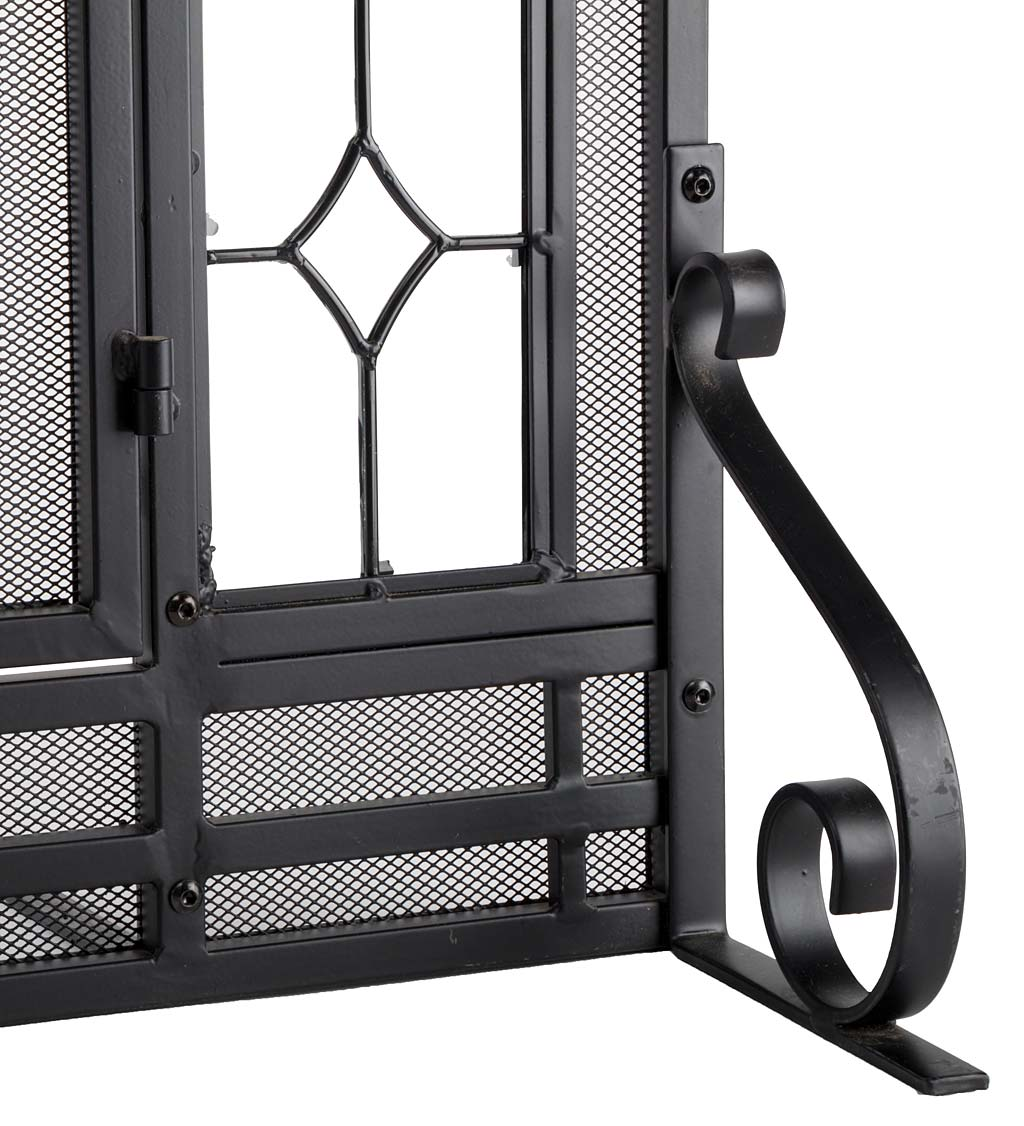 Two-Door Fireplace Screen with Glass Floral Panels