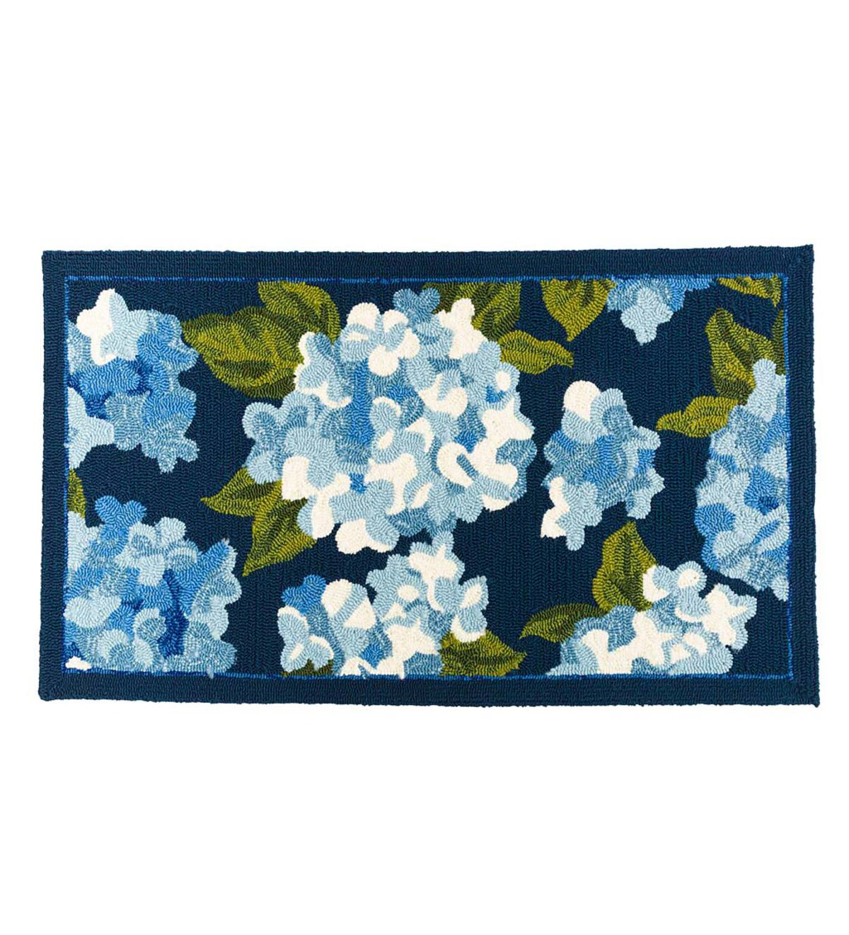 "Hydrangeas Indoor/Outdoor Rug, 24""x 42"" - Blue"