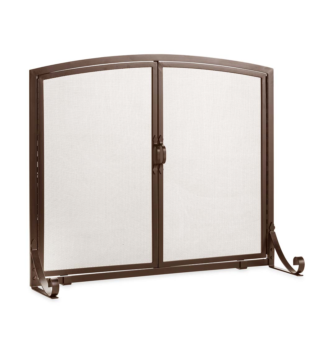 Arched Top Flat Guard Fireplace Screen with Doors, Small swatch image