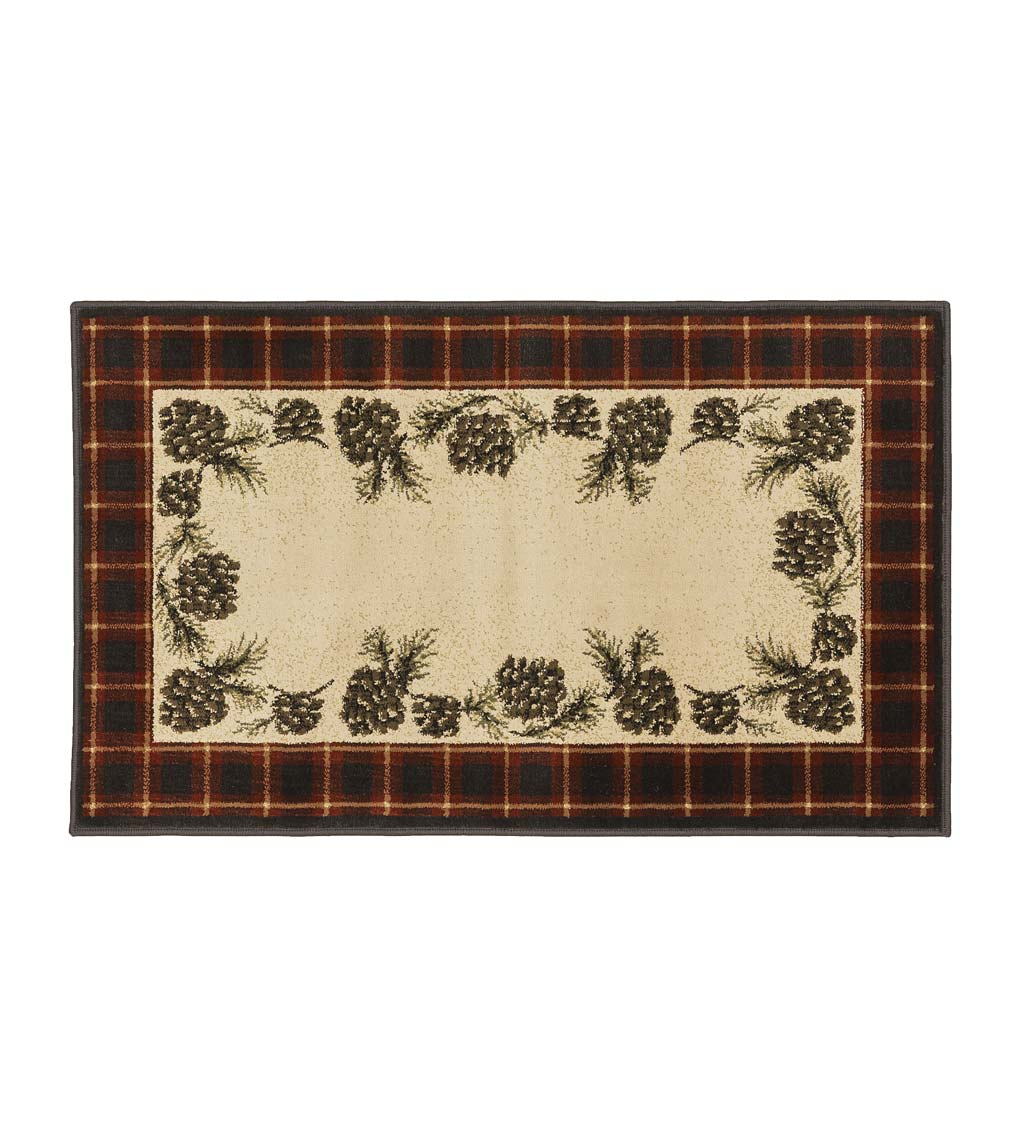 "Vista Pine Cones Red Plaid Border Rug, 30"" x 50"""