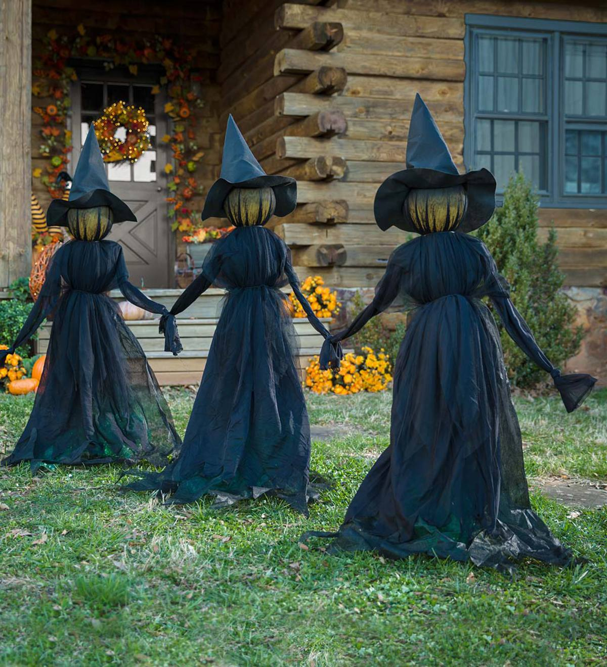 Lighted Halloween Witch Stakes, Set of 3