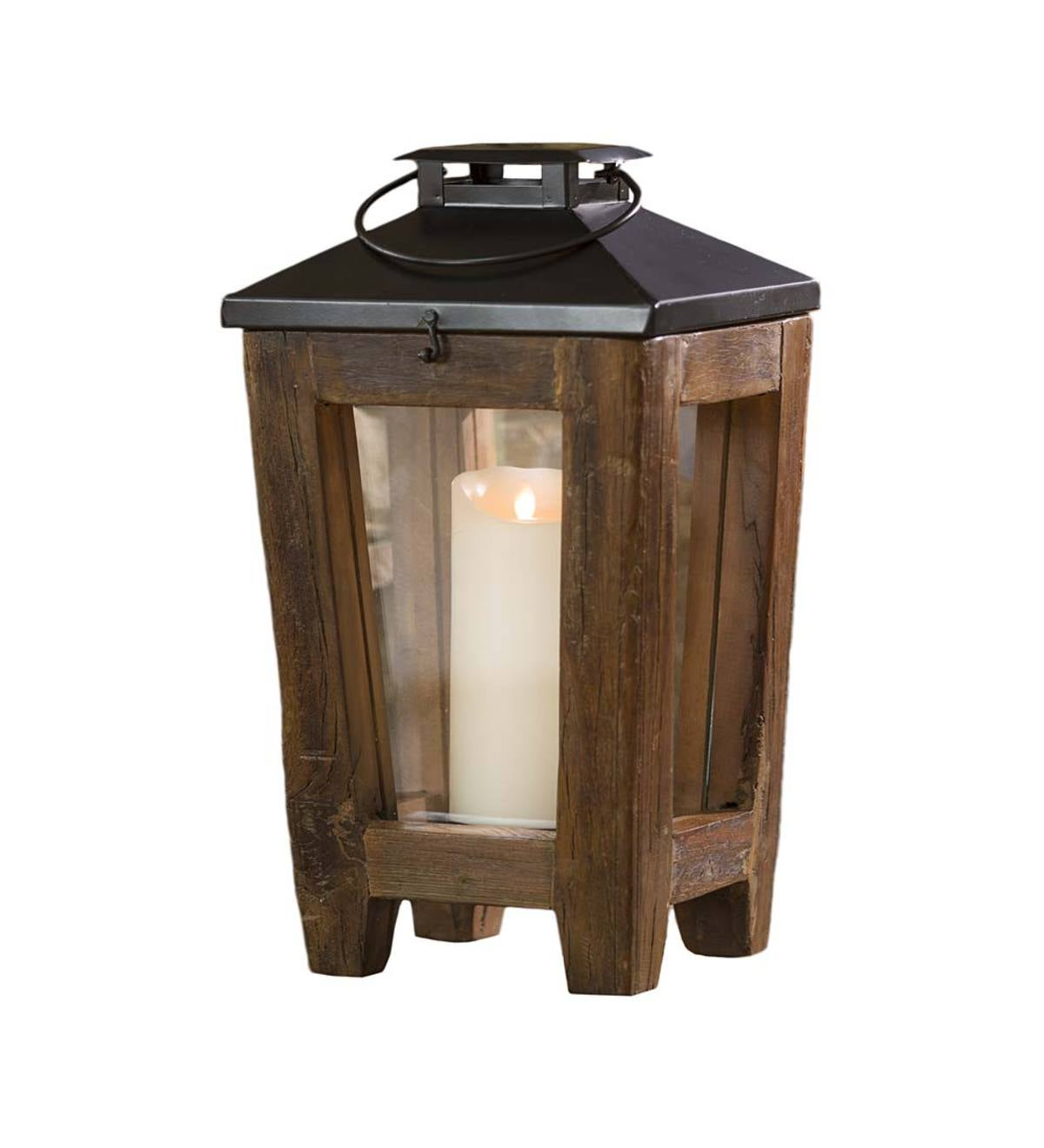 Small Reclaimed Wood and Metal Lantern