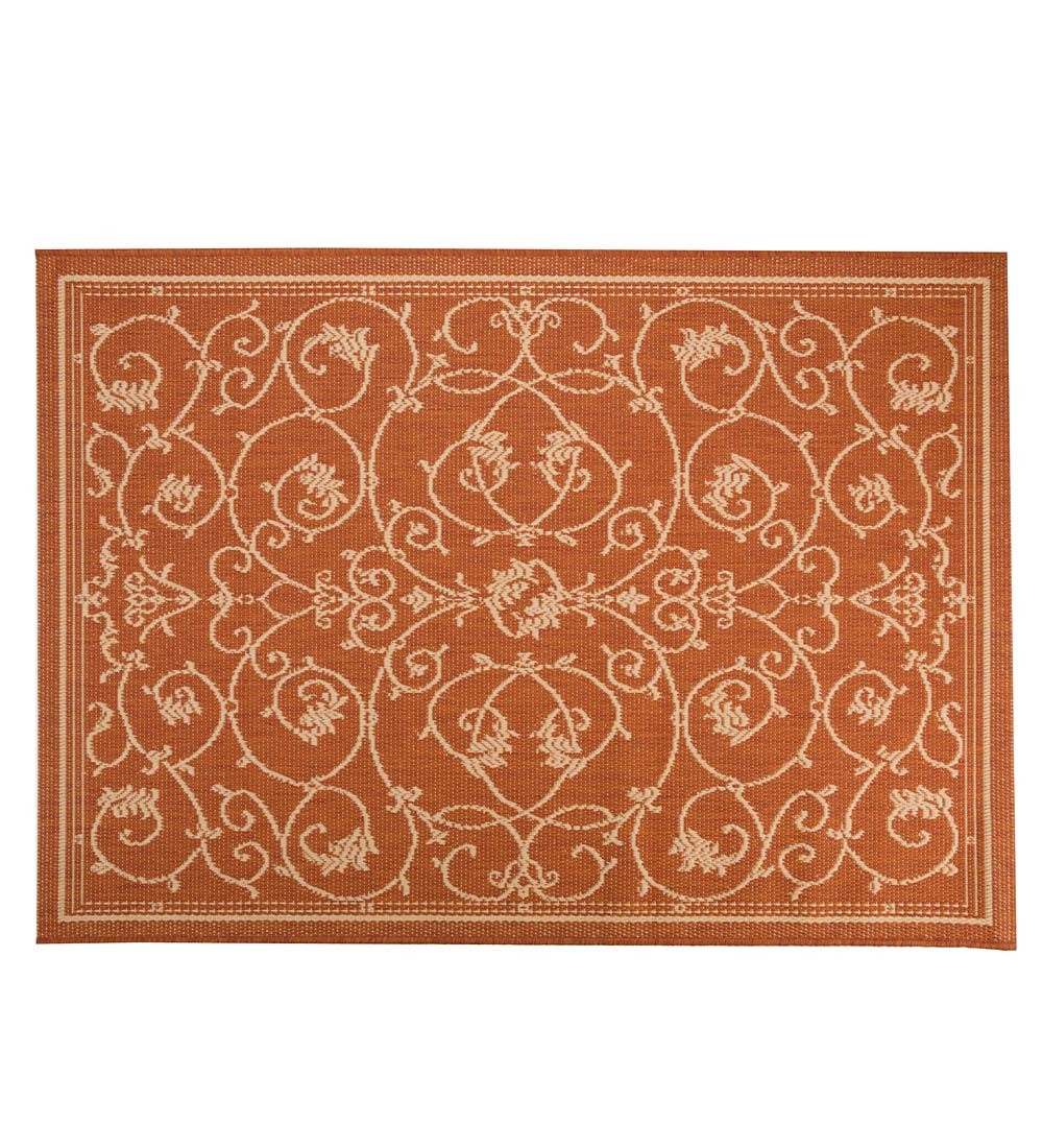"Veranda Scroll Indoor/Outdoor Rug, 3'9""x 5'5"""
