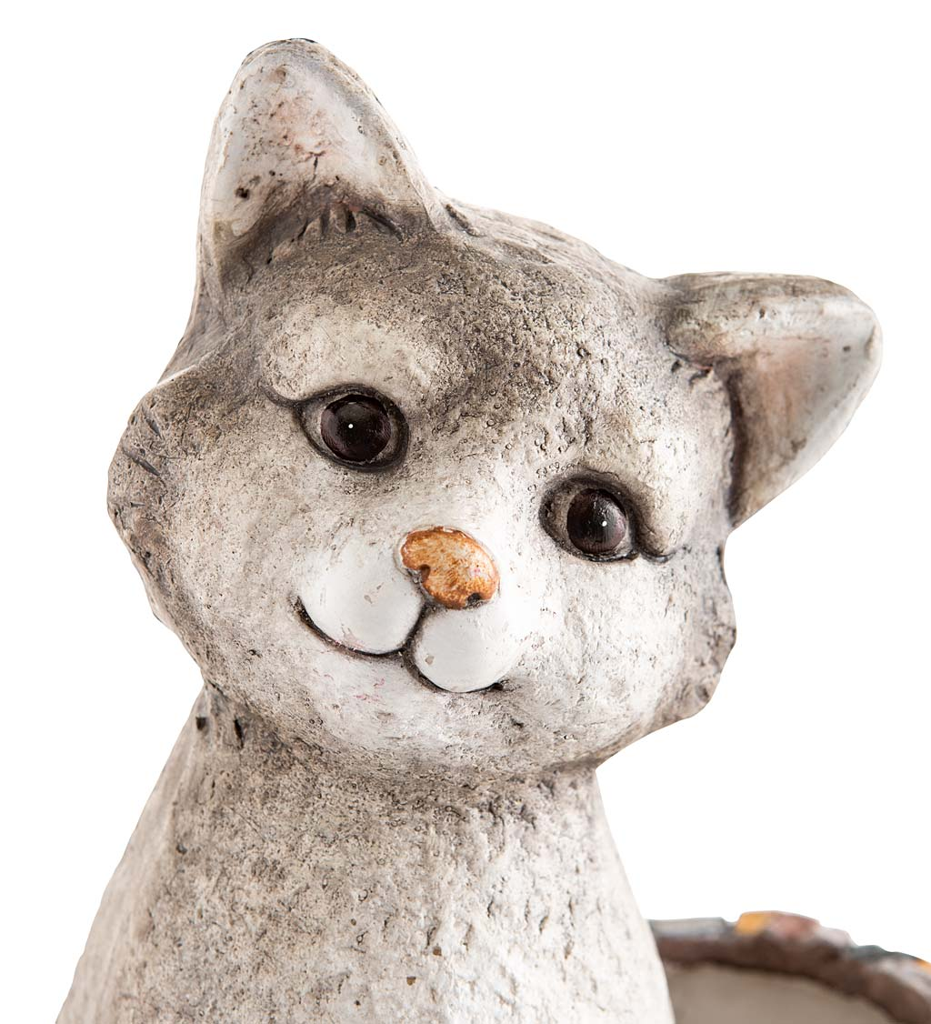 Faux Stone Cat Statue Double Planter