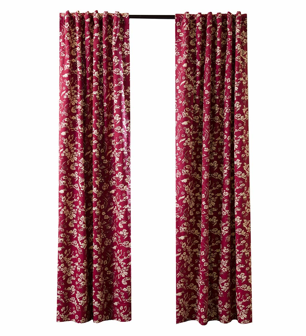 "Floral Damask Rod-Pocket Homespun Insulated Curtain Panel, 42""W x 84""L swatch image"