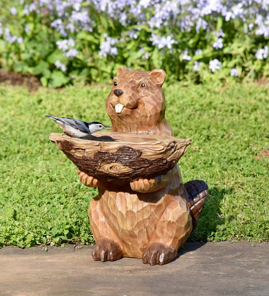 Carved Resin Beaver Birdbath Garden Accent