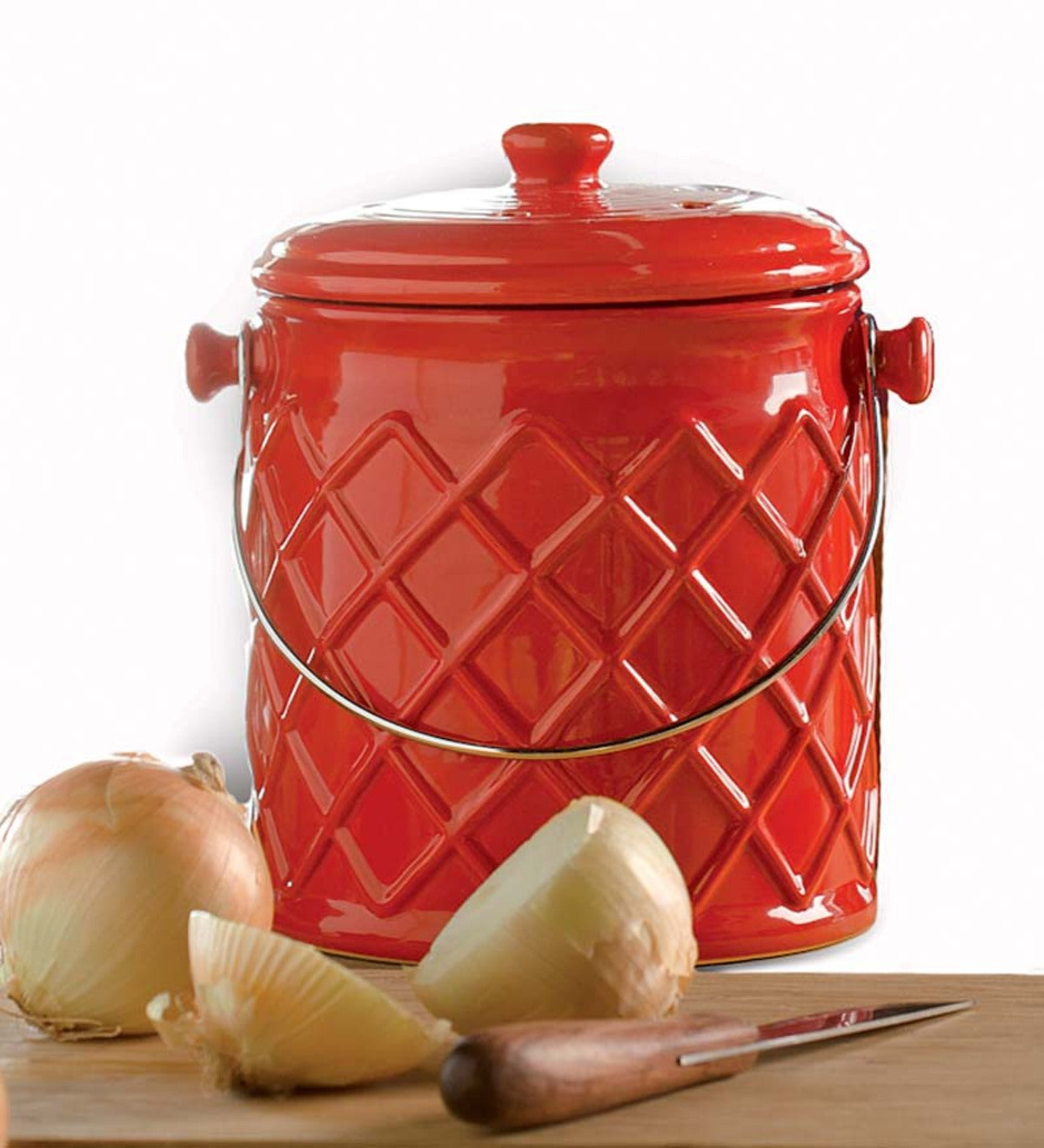 1 Gallon Lattice Ceramic Compost Crock Labor Day Sale