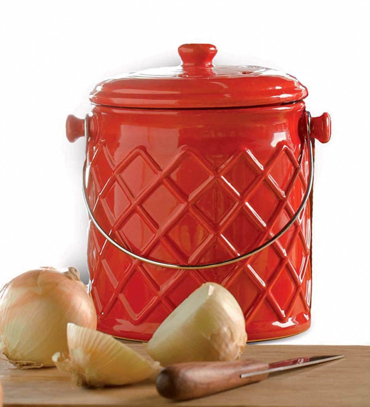 Leakproof Odor Free 1 Gallon Lattice Ceramic Compost