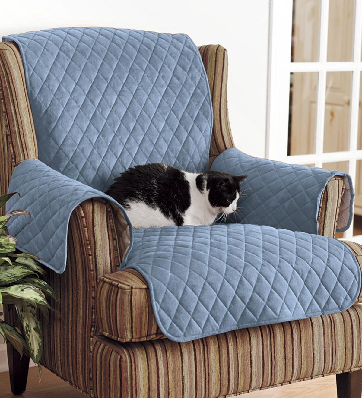 Plow And Hearth Furniture: Polyester Pet Sofa Protective Cover - Blue