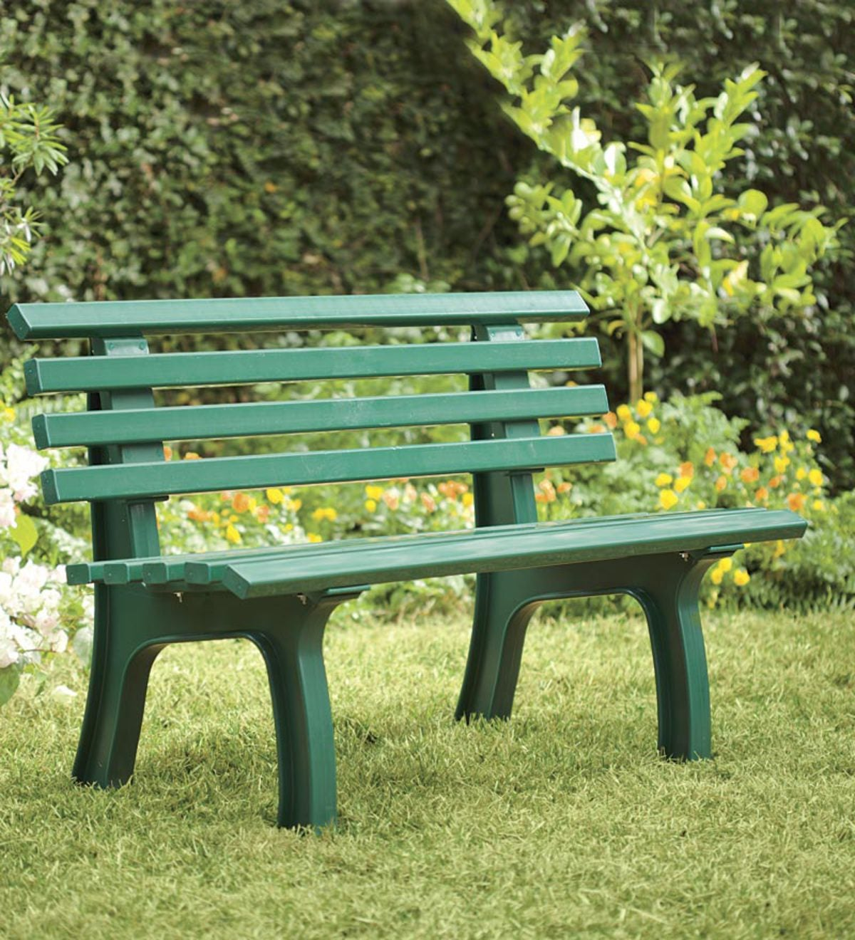 German-Made, Weatherproof Resin Garden Bench - Green