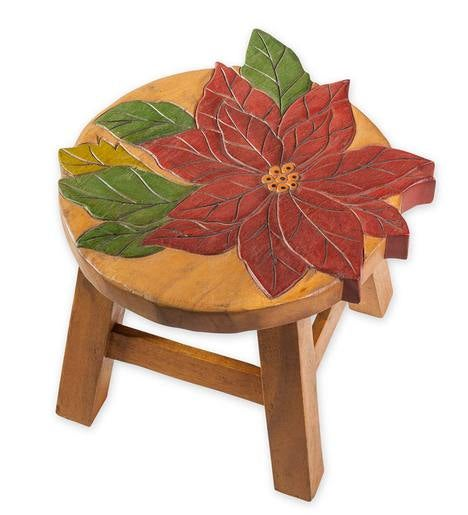 Hand Carved Acacia Wood Poinsettia Footstool Decorative