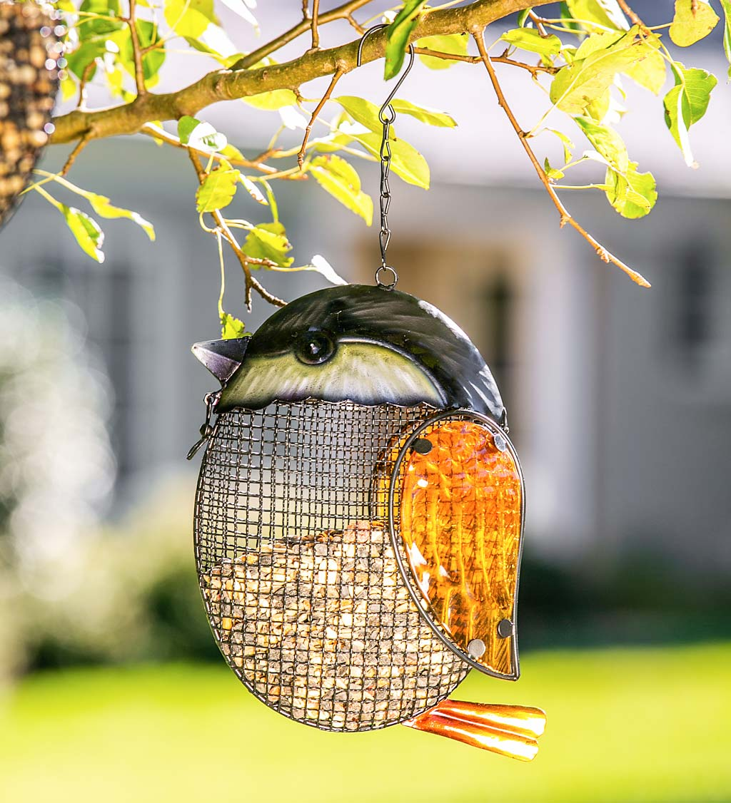 Glass Chickadee Hanging Mesh Bird Feeder