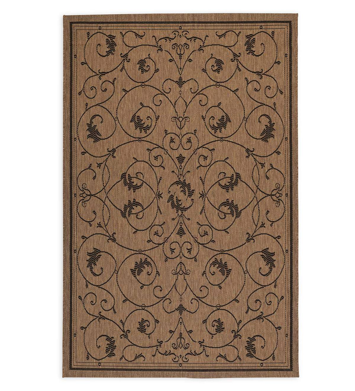 "Veranda Scroll Indoor/Outdoor Rug, 5'3""x 7'6"" - Black"