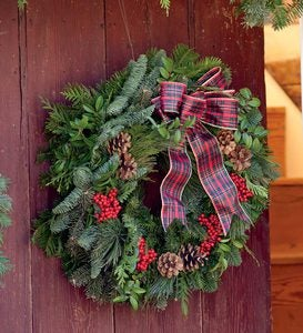 "Holiday Woodland Evergreens 30""Wreath With Bow"