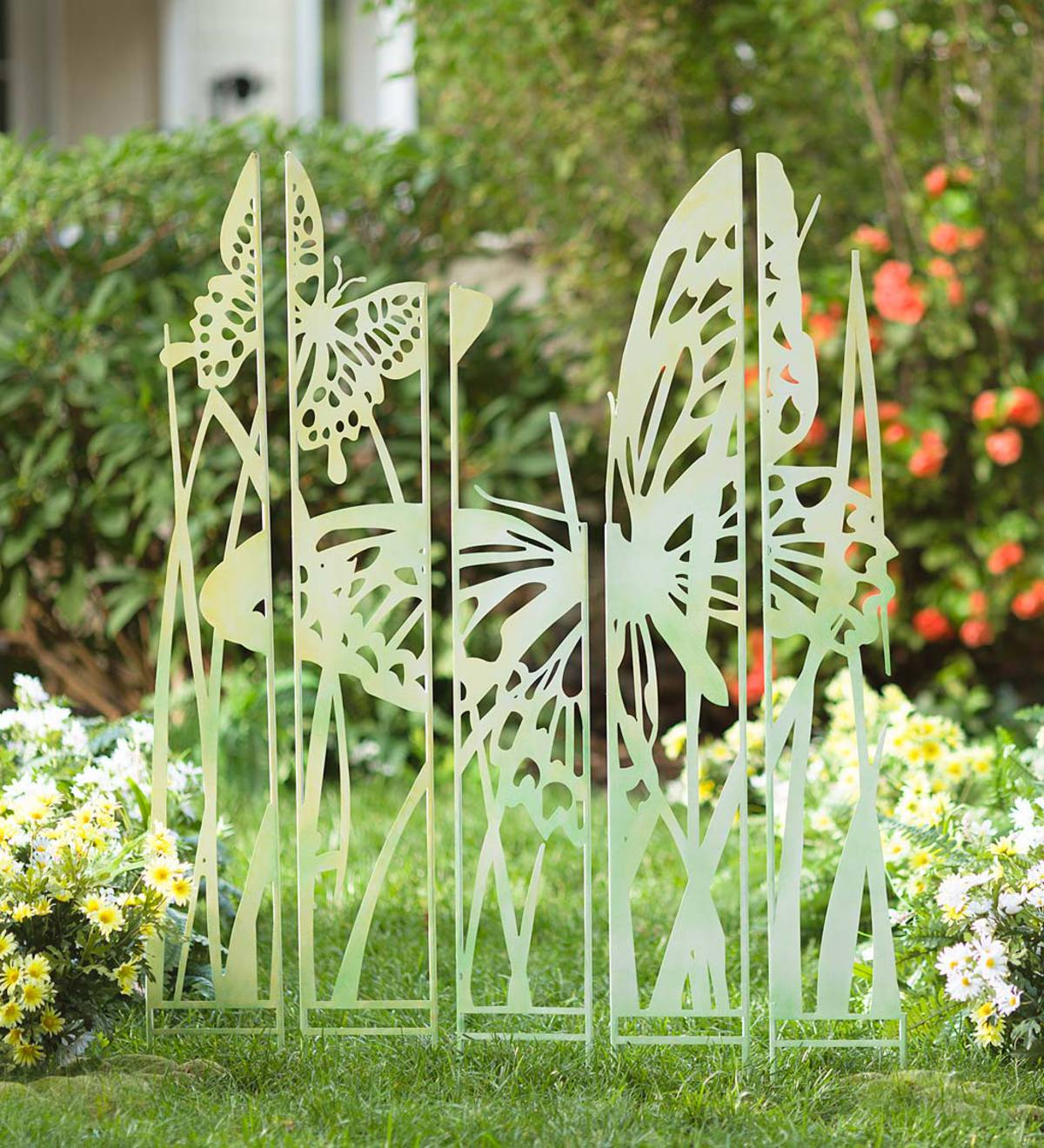 Butterfly Garden Screen Metal Panel Stakes, Set of 5