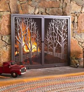 Country Road Tree Line Fireplace Screen with Doors